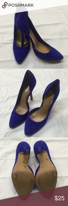 BCBG Paris Jaze Blue Suede Pump Take your style up a notch with these blue suede pumps from BCBG Paris. D'Orsay style. In excellent used condition with minor scuffs on the heel and sole (pictured). This would be great with all your holiday looks! Size 6. BCBGeneration Shoes Heels
