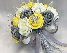 Artificial Wedding Flowers, Brides Posy Bouquet with Mint Green, Grey and White Roses with brooches, crystals and diamantes Brown Wedding Themes, Grey Wedding Theme, Wedding Ideas, Calla Lily Boutonniere, White Boutonniere, Wedding Boutonniere, Yellow White Wedding, Yellow Grey Weddings, Rose Wedding Bouquet