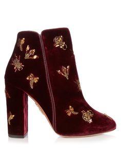 AQUAZZURA Fauna Insect-Embellished Velvet Ankle Boots. #aquazzura #shoes #boots
