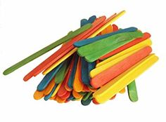 """Durable, Strong & Non-Toxic {4"""" x .5"""" Inch} 100 Bulk Count of Mini Multi-Purpose Craft Sticks for DIY, Food, Beauty & More, Made of Baltic Birch Wood w/ Rainbow Stained Style {Multicolor}"""