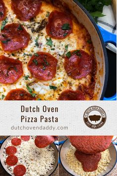 Dutch Oven Pizza Pasta takes all the classic flavor of pepperoni pizza but serves it up in cheesy pasta dish baked in your favorite cast iron pot. Dutch Oven Breakfast, Dutch Oven Pizza, Breakfast Recipes, Cold Pasta Dishes, Pot Pasta, Yummy Pasta Recipes, Dinner Recipes, Skillet Recipes, Pizza Recipes