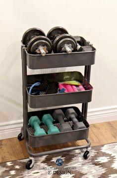 Mini home gym storage ideas for weights, Ikea hack Raskog unit. Kylie M E-design Mini home gym storage ideas for weights, Ikea hack Raskog unit. Kylie M E-design Home Gym Decor, Gym Room At Home, Workout Room Home, Dorms Decor, Workout Rooms, Exercise Rooms, Home Gym Garage, Basement Gym, Basement Storage
