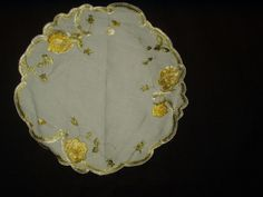 Antique Society Silk Embroidery Yellow Roses Linen Table Doily - The Gatherings Antique Vintage