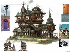 ArtStation - 3D Environment, Lee Taehee Fantasy City, Fantasy Castle, Fantasy House, Fantasy Places, Medieval Fantasy, Environment Concept Art, Environment Design, Buildings Artwork, Cartoon House