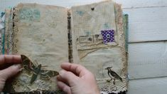 Nature themed junk journal in blue.