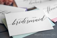 Marrygrams makes beautiful wedding paper products! To My Bridesmaid Card Delicate Style #marrygrams