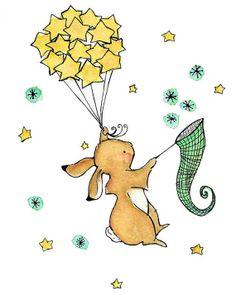 Art pour enfants--attraper un lapin de faisceau de lune--Archiv...