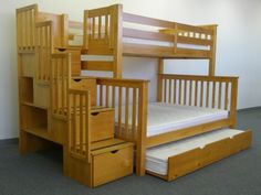 Bedz King Tall Stairway Bunk Beds Twin over Twin with 4 Drawers in the Steps and 2 Under Bed Drawers, Honey Bunk Bed With Stairs And Storage, Bunk Bed With Desk, Bunk Bed With Trundle, Twin Bunk Beds, Kids Bunk Beds, Staircase Storage, Loft Beds, Stair Storage, Under Bed Drawers
