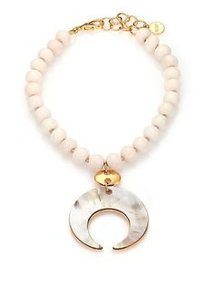 Nest - Bone & Horn Beaded Crescent Pendant Necklace