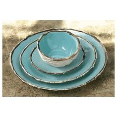 """Robins egg blue dish ware with """"nest"""" bowl"""