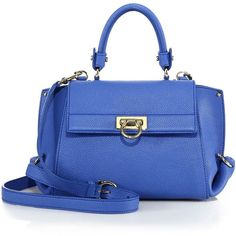 Salvatore Ferragamo Mini Sofia Leather Satchel (€1.800) ❤ liked on Polyvore featuring bags, handbags, apparel & accessories, blue indie, satchel handbags, satchel purses, blue handbags, mini satchels and genuine leather handbags