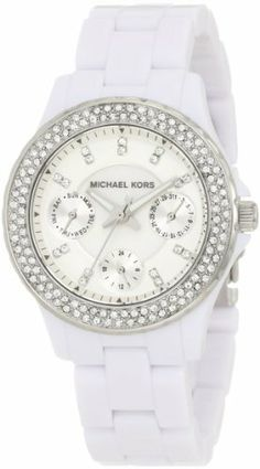 Michael Kors Quartz Acrylic Mini Madison Glitz White Dial Women's Watch MK5458 Michael Kors. $225.00. Analog Display. Water Resistance : 5 ATM / 50 meters / 165 feet. White Plastic Strap. Round Plastic Case