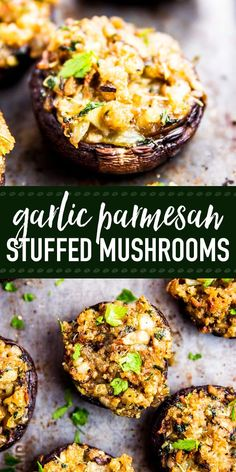 Easy stuffed mushrooms full of garlic and parmesan flavors! The simple filling comes together quickly and everybody loves how full of flavor it is. Make them for your next holiday party - they will be gone in no time. The perfect appetizer for Thanksgivi Thanksgiving Appetizers, Appetizers For Party, Appetizer Recipes, Appetizers Superbowl, Vegetarian Recipes, Cooking Recipes, Healthy Recipes, Burger Recipes, Vegetarian Appetizers