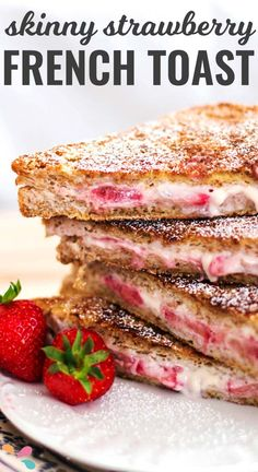 Skinny Crunchy Stuffed French Toast Recipe - A better-for-you breakfast stuffed with berries & cream cheese, coated in a delicious crunchy cinnamon crust!