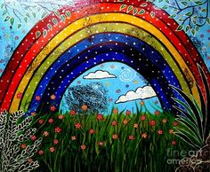Whimsical Painting-whimsical Rainbow Painting  - Whimsical Painting-whimsical Rainbow Fine Art Print