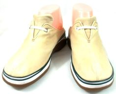 Clarks Shoes Womens Size 7 M Beige Canvas Mule Fashion Sneakers #Clarks #FashionSneakers