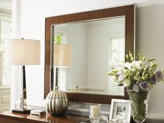 Mirage Ohara Mirror Made in Quartered Walnut with a Polished Silver Finish from Lexington Home Brands