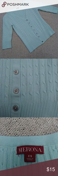 Light Blue Cable Knit V- Neck Cardigan Great condition Merona cable knit v-neck button up light blue cardigan with 3/4 sleeves. Silver/ gray buttons. Ribbed collar, hem and sleeves. Size xs. From smoke & pet free home. Merona Sweaters Cardigans