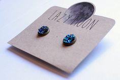 Kolczyki Vintage Druzy BLUE