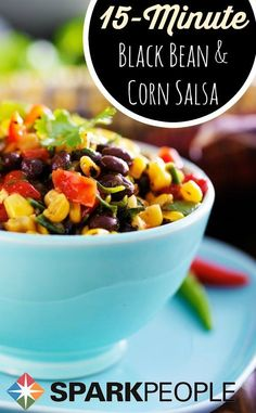 15 Minute Black Bean and Corn Salsa. My go-to recipe for last-minute party invites! | via @SparkPeople #salsa #blackbeans #corn #vegetarian #party #summer