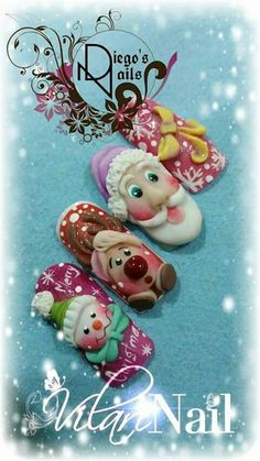 Xmas Nails, Christmas Nail Art, 3d Nails, Holiday Nails, Acrylic Nails, Nail Art Printer, Paris Nails, Mobile Nails, Nail Polish Art