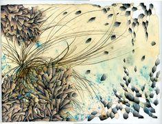 Kasia Breska - mixed media drawing based on the coastal area of eastern scotland