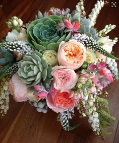 Wedding Bouquet Arranged With: Succulents, English Garden Roses, Andromeda, Veronica, Greenery & Foliage Wedding Flower Arrangements, Wedding Centerpieces, Floral Arrangements, Bouquet Bride, Wedding Bouquets, Boquet, Rose Bouquet, Floral Wedding, Wedding Flowers