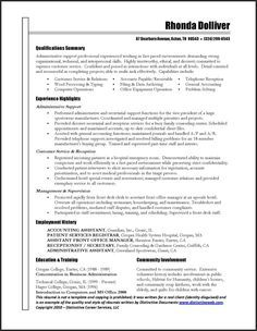 Samples  Administrative Support  Resume Samples