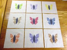 "Set of 9 Vintage Type 1930's Fabric Butterfly  6"" x 6""  Applique Quilt Blocks"