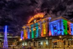 Holiday lights around Denver. Union Station, Downtown.