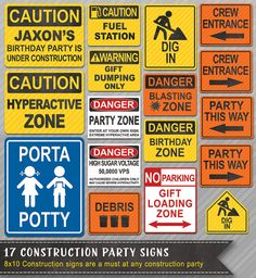 Construction Party Signs Construction Signs by WolcottDesigns