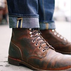 Awesome cuffing of jeans with contrasting inner panelling, teamed with brown boots. > http://www.raddestlooks.net