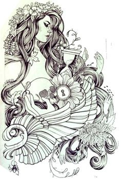 Thigh Piece Tattoos, Pieces Tattoo, Charmed Book Of Shadows, Goddess Tattoo, Mermaid Photos, Ink Addiction, Clock Art, Cute Tattoos, Fabric Art