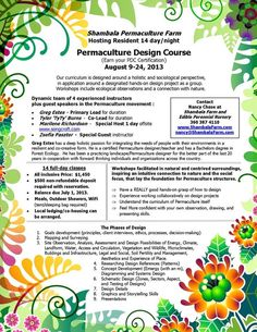 Stanwood, WA 2nd Annual Permaculture Design Course. At Shambala Farm and Nursery our curriculum combines holistic and sociological approaches to living sustainable. We understand permaculture design to connect… Click flyer for more >>