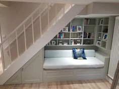 35 Genius Storage Ideas for Small Spaces to Make your Home Feel Bigger - The Trending House Under Basement Stairs, Shelves Under Stairs, Staircase Storage, Under Stairs Cupboard, Stair Storage, Staircase Design, Living Room Under Stairs, Basement Ceilings, Basement Bars