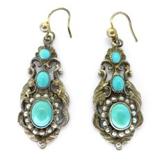 Antique Austro Hungarian Silver Turquoise & Pearl Earrings | Clarice Jewellery | Vintage Costume Jewellery