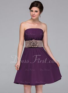A-Line/Princess Strapless Knee-Length Sash Flower(s) Zipper Up Strapless Sleeveless No Other Colors Spring Summer Fall General Plus Chiffon Bridesmaid Dress