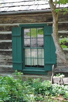 Log Photograph - Log Cabin Window by Jost Houk Cabin Exterior Colors, Log Cabin Exterior, Small Log Cabin, Log Cabin Homes, Log Cabins, Rustic Cabins, Green Shutters, Green Windows, Exterior Paint Schemes