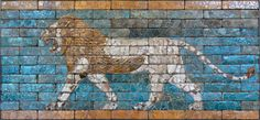 The Lioon Ladies: The lion on the left is patrolling the wall of the Ishtar Gate, built by the Babylonian King Nebuchadnezzar II in about 600 BC. This was the king who conquered Judah and brought its residents captive to his city. Ishtar, after whom the gate was named, was the Babylonian Goddess of Love and War. Below the picture of the gate is a relief showing the earlier version of Ishtar, the ancient Sumerian goddess Inanna who can be seen with a lion on a leash.