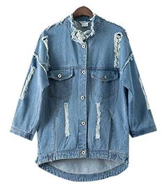 Lingswallow Womens Distressed Retro Oversize Blue Loose Denim Jean Jacket Coat -- You can find out more details at the link of the image.  This link participates in Amazon Service LLC Associates Program, a program designed to let participant earn advertising fees by advertising and linking to Amazon.com.