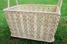 Medium sz., Macrame, Basket, Rope,Handmade, in Natural colors ,Storage,Picnic,Decorative