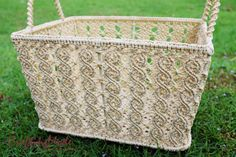 Medium sz., Macrame, Basket, Rope,Handmade, in Natural colors ,Storage,Picnic,Decorative