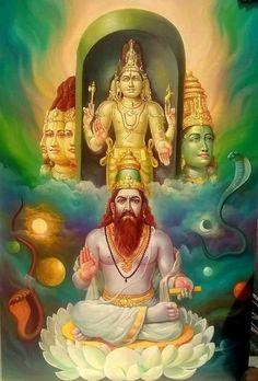Kala Ksetram — Bhirugu Maharishi with Brahma, Shiva and Vishnu Shiva Yoga, Shiva Shakti, Shiva Art, Hindu Art, Ganesha Art, Om Namah Shivaya, Indian Gods, Indian Art, Lord Murugan Wallpapers