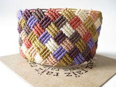 Micro Macrame Bracelet Handwoven Textile Jewelry . Patchwork Fiber Jewellery . Bohemian Hippie Chic Friendship Bracelet ~ by raïz