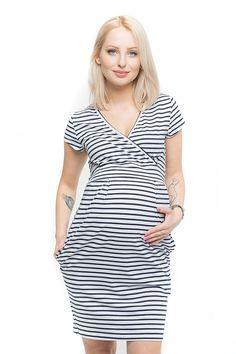 Letní bílé těhotenské šaty na kojení s krátkým rukávem Short Sleeve Dresses, Dresses With Sleeves, Wrap Dress, Dresses For Work, Etsy, Fashion, Moda, Sleeve Dresses, Fashion Styles