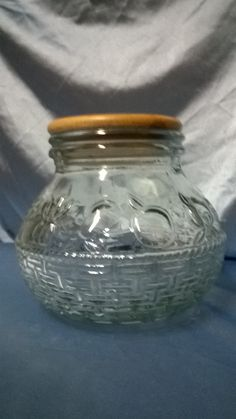 Free Shipping....Vintage cookie jar with by GlassyBlue on Etsy