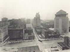 Skyline view of downtown St. Louis, Pine Street looking east from the Missouri Pacific Building on Twelfth. (1928)