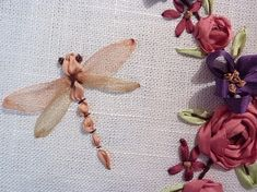 dragon fly  ribbon embroidery by Mariela Soledad