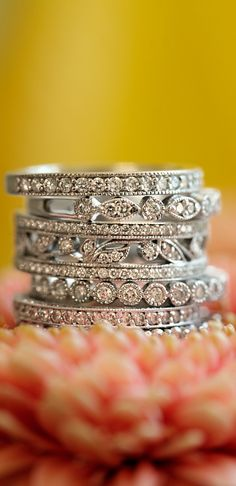 Love these dazzling wedding bands with pavé diamonds.