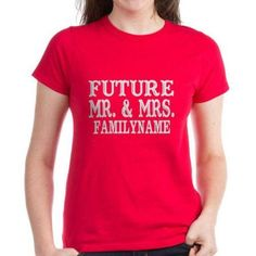 Cafepress Personalized Future Mr. And Mrs. Personalized Women's Dark T-Shirt, Size: Large, Red